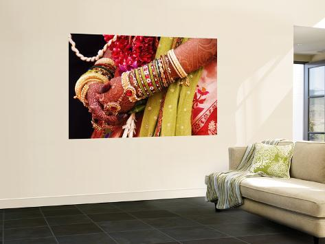 Bejewelled Bride with Henna Hands at Mumbai Wedding Giant Art Print