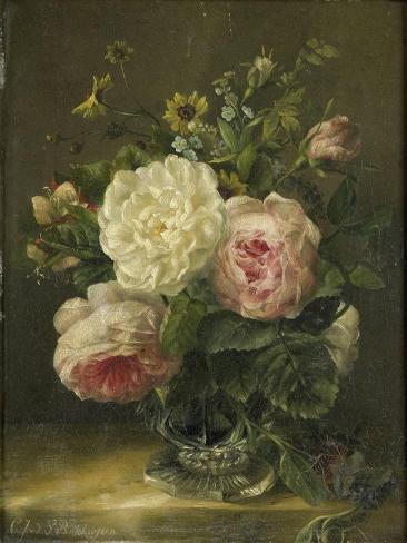 Stilleven Met Bloemen in Een Kristallen Vaas Art Print