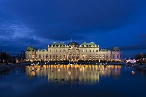Austria, Vienna, Palace Belvedere, Christmas Market, Christmas Lighting Photographic Print
