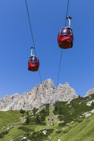 Cable Car Frara, in the Valley Kolfuschg, 'Puezgruppe' (Mountains) Behind, Dolomites, South Tyrol Photographic Print