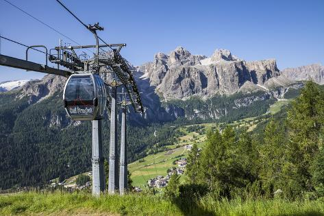 Cable Car on the Col Pradat, in the Valley Kolfuschg, Sella Behind, Dolomites, South Tyrol Photographic Print