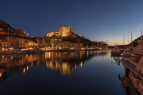 Europe, France, Corsica, Bonifacio, Harbour and Old Town in the Dusk Photographic Print