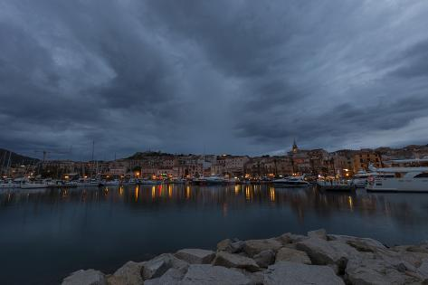 Europe, France, Corsica, Calvi, Harbour and Houses in the Dusk Photographic Print
