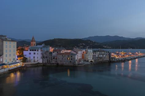 Europe, France, Corsica, Saint Florent, Harbour and Houses at Dusk Photographic Print