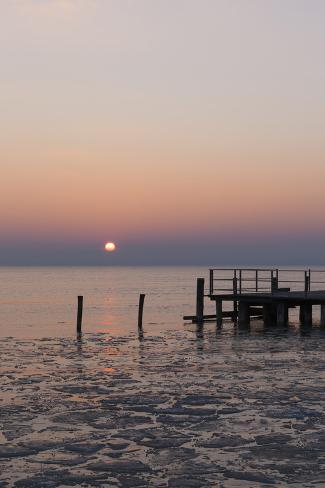 Sunset and Jetty in Podersdorf Am See, Frozen Lake Neusiedl, Burgenland, Austria, Europe Photographic Print
