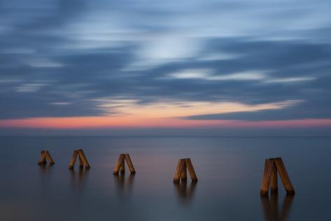 Sunset and Jetty in Podersdorf Am See, Lake Neusiedl, Burgenland, Austria, Europe Photographic Print