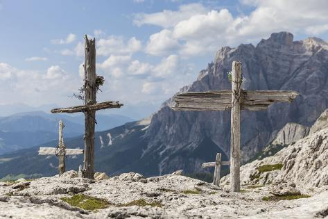 Wooden Crosses at 'Sass De Stria' (Mountain Photographic Print