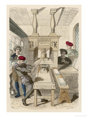 French Printing Press of the 15th Century Giclee Print