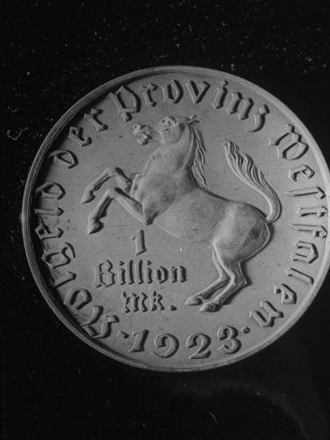 German Billion Mark Coin, 1923, Largest Denomination Ever Issued in Metal Stretched Canvas Print