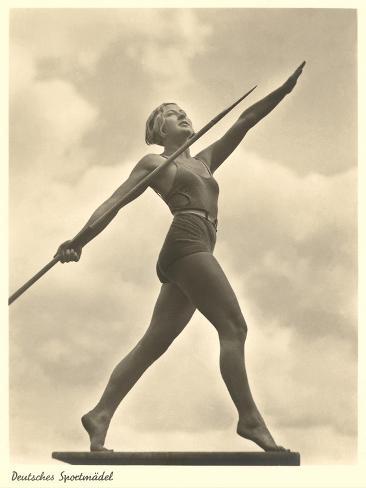 German Female Athlete, with Javelin Art Print