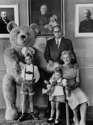 German Toy Maker Otto Steiff Posing with His Family and a Huge Teddy Bear Photographic Print