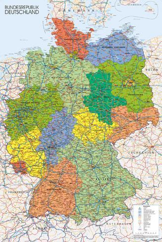 Germany Map Reference Poster Pôster