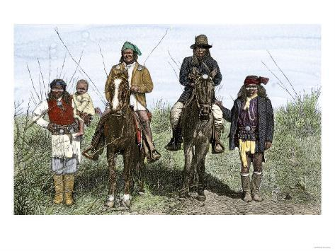 Geronimo and Natchez on Horseback during the Apache Wars, c.1886 Giclee Print
