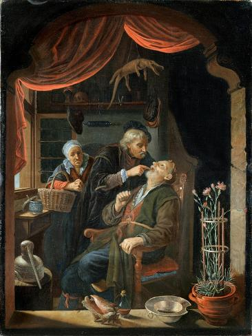 Dentist Examining the Tooth of an Old Man Giclee Print