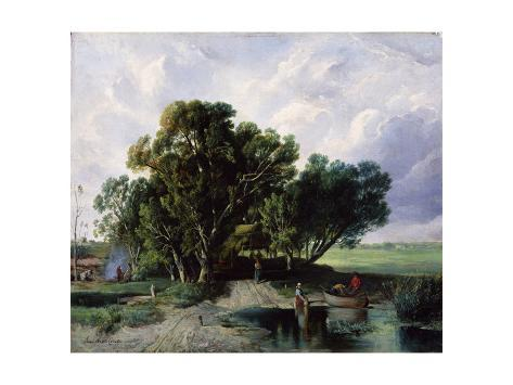 Peasants by a Lake Stretched Canvas Print