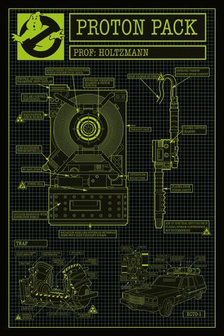 Ghostbusters- Proton Pack Schematics Poster