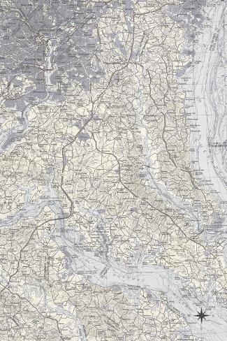 Washington DC Map B Giclee Print