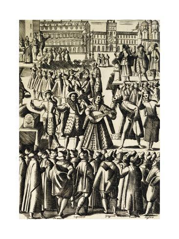 Charlatans in St Mark's Square in Venice Giclee Print
