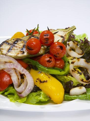 Mixed Salad with Grilled Vegetables Photographic Print
