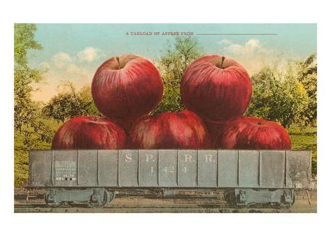 Giant Apples in Rail Car Taidevedos