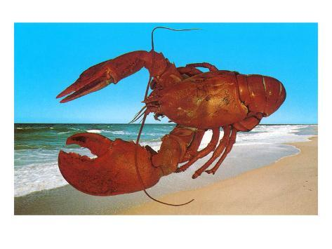 Giant Lobster have a Picnic on the Beach Picture Print Funny Art A4 Poster