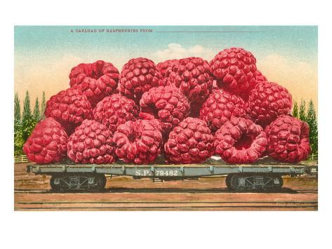 Giant Raspberries on Flatbed Taidevedos