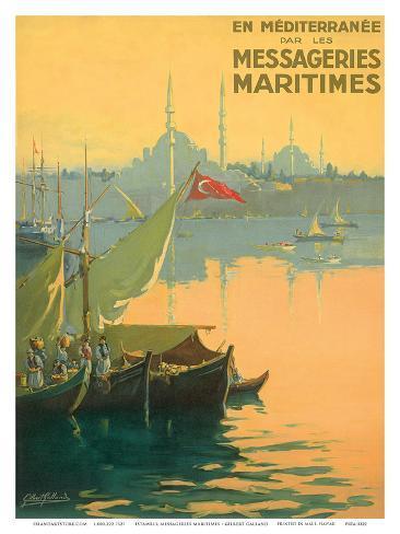 Istambul Messageries Maritimes c.1925 Art Print