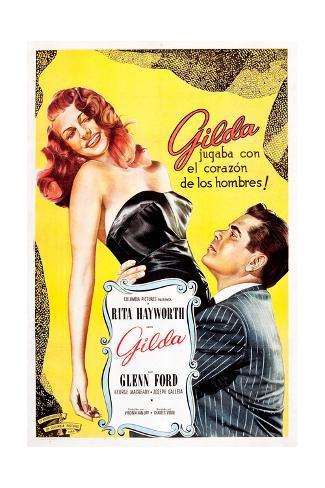 Gilda, Argentine Poster Art, Rita Hayworth, Glenn Ford, 1946 Giclee Print