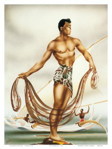 Hawaiian Net Fisherman, c.1930s Art Print