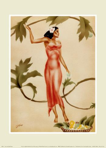 Lady with Red Dress Art Print