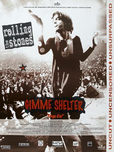 Gimme Shelter, French poster, Mick Jagger, 1970 Konstprint