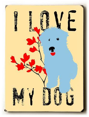 I love my dog blue Wood Sign
