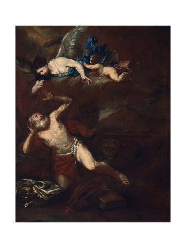 St. Jerome and Angel Blowing the Trumpet of the Last Judgment Art Print