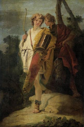 Young Man with Bow and Large Quiver and His Companion with a Shield Art Print