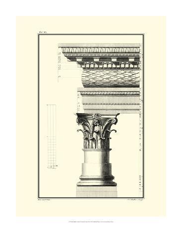 Crackled B&W Column and Cornice III Art Print