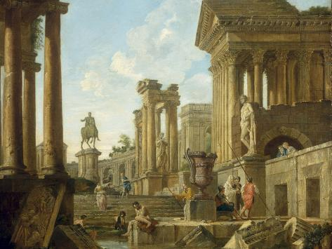 Architectural Capriccio with Ruins, Equestrian Statue of Marcus Aurelius and Figures by a Pool Giclee Print