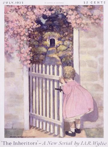 Girl at the Garden Gate Giclee Print