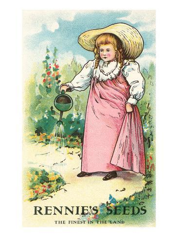 Girl Watering, Seed Packet Stretched Canvas Print