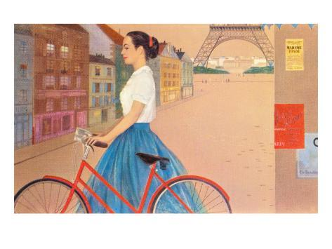 Girl with Bicycle in Front of Eiffel Tower Art Print