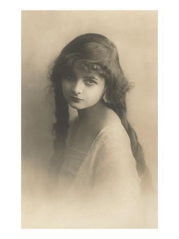 Girl with Long Hair Art Print