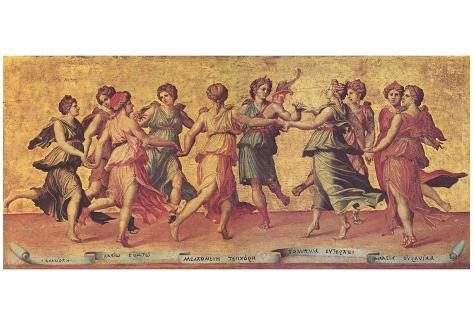 Giulio Romano (Dance Apollo with the Muses) Art Poster Print Poster