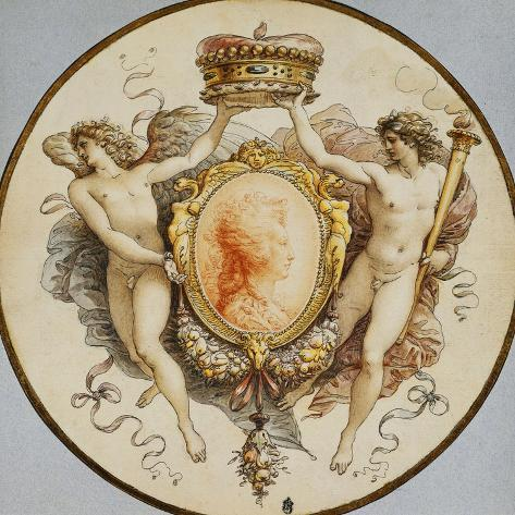 An Oval Portrait of a Woman in Profile with a Decorative Border of Grotesques and Swags, with… Giclee Print