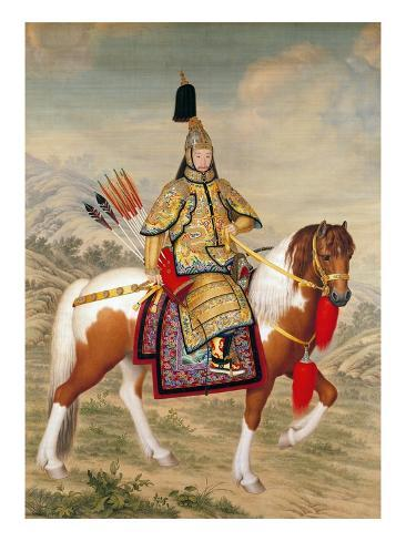 The Qianlong Emperor in Ceremonial Armour on Horseback Giclee Print