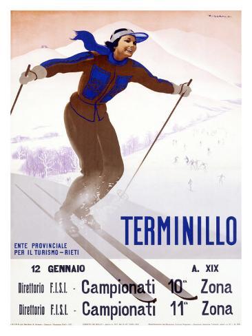 Terminillo, Women Snow and Ski Giclee Print
