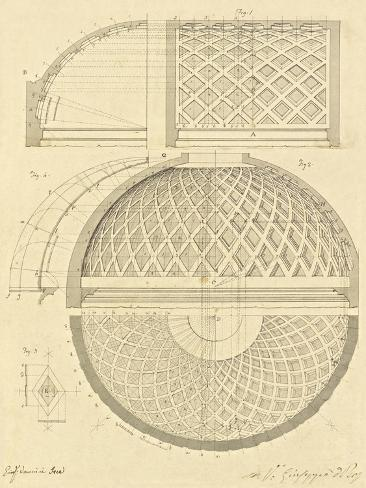 Plate 43 for Elements of Civil Architecture, ca. 1818-1850 Stretched Canvas Print