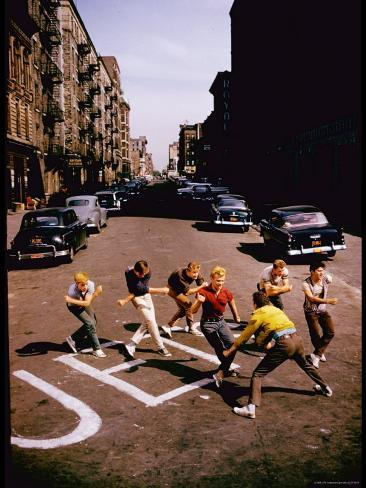 Jets' Dance on Busy Street in Scene from West Side Story Premium Photographic Print