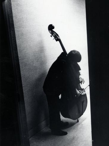 Young Bassist Member of Alexander Schneider's New York String Orchestra Tuning His Instrument Photographic Print