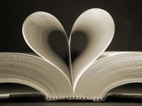 Pages of a Book Curved into a Heart Shape Photographic Print