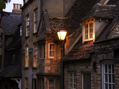 A Streetlamp Illuminating Several Stone Buildings, Stamford, United Kingdom Photographic Print