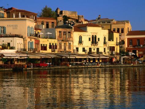 Morning Sunlight on Buildings on Harbour Hania, Crete, Greece Photographic Print